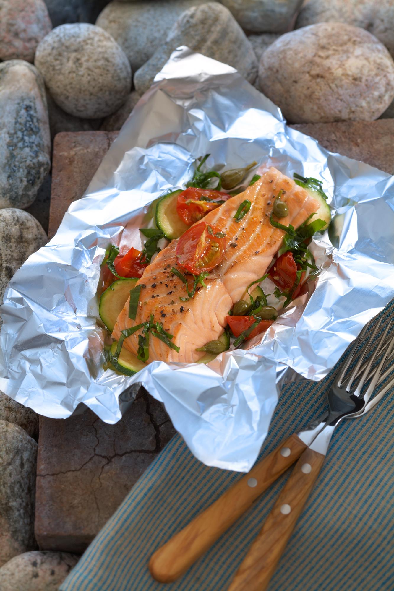 Lachsfilet in Alufolie<br>(Norwegischer Fisch)